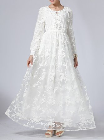 Guipure Lace Elegant White A-Line Maxi Big Hem Dress