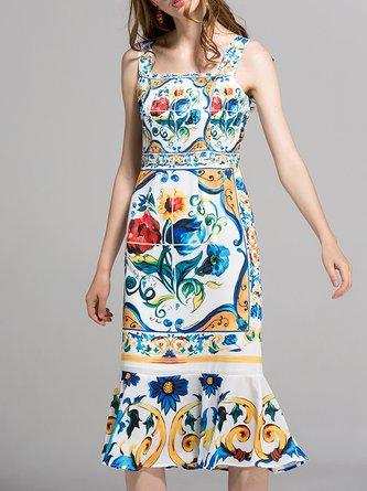 U-Neck Multicolor Mermaid Paneled Floral Maxi Dress