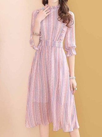 Stand Collar Daily Casual Striped Date Midi Dress