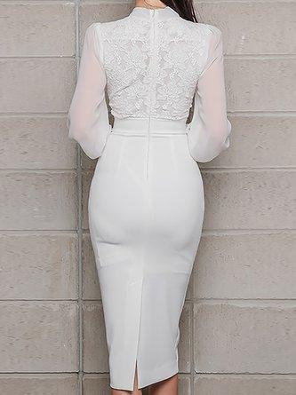 Tie-Neck Paneled Elegant Midi Dress