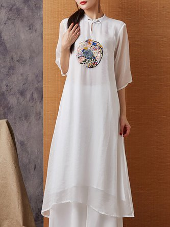 Stand Collar Casual Floral Paneled Daily Casual Linen Dress