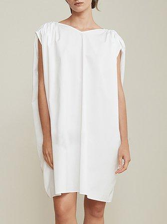 V Neck White Shift Daytime Casual Drawstring Midi Dress