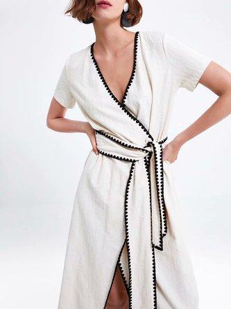 Surplice Neck White A-Line Daytime Asymmetric Midi Dress