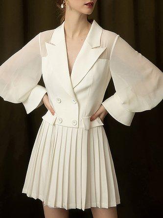 Lapel Chiffon White A-Line Work Paneled Pleated Mini Dress