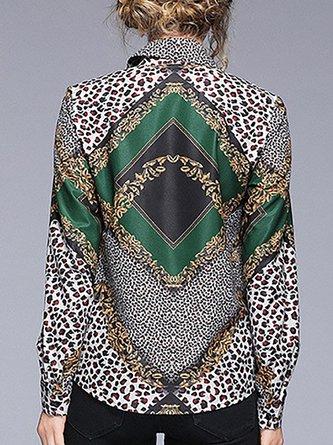 Green Casual Shirt Collar Daily Leopard Print Blouse