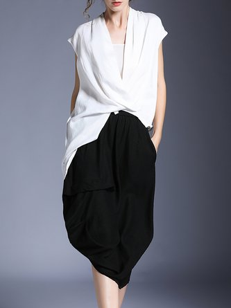 V Neck Solid Asymmetric Top With Pants Two-Piece Set