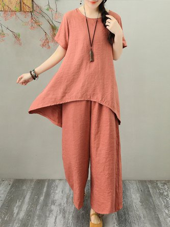 Shirred Summer Solid  Linen Two-piece Set