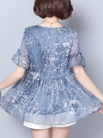 Casual Bell Sleeve Floral-Print Gathered Tunic