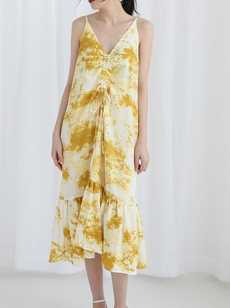 Sweet Printed/dyed Spaghetti V Neck Sweet Ruffled Dress