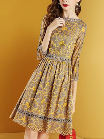 Yellow A-Line Daily Elegant Guipure Lace Crocheted Midi Dress