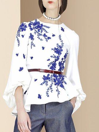 Printed  Floral Balloon Sleeve Shift  Elegant Top