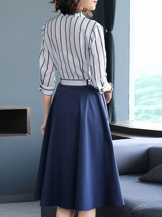 Striped Color-Block A-Line Work Elegant Midi Dress