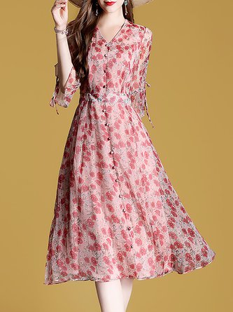 Red V Neck Date Holiday A-Line Daily Floral Print Midi Dress