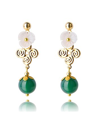 Classical 14k Gold-Plated Stud Agate Earrings