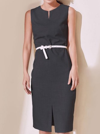 V Neck Slit Sheath Sexy Work Midi Dress