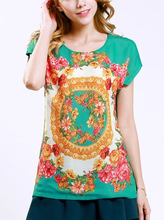 Casual Short Sleeve Crew Neck Shift Floral Printed T-Shirts