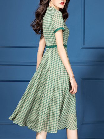 Green Plaid Printed A-Line Date Casual Paneled Midi Dress