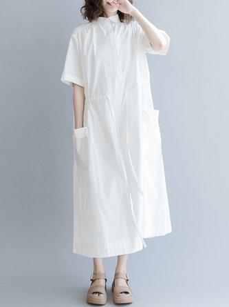 Summer Shirred Pockets Sweet Solid Linen Dress