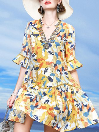 V Neck Ruffled Printed A-Line Beach Mini Dress