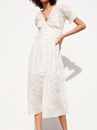 V Neck White Eyelet  A-Line Casual Daily Solid Maxi Dress