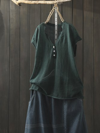Buttoned Summer Short Sleeve V Neck Linen Top
