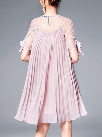 1b572864275 Pink Crew Neck Pleated A-Line Date Casual Solid Midi Dress
