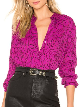 Fuchsia Shift Floral Printed Casual Shirt Collar Blouse