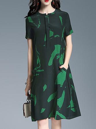 Shift Daily Casual Pockets Printed Midi Dress