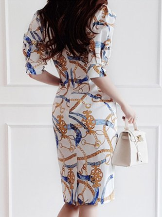 Bodycon Party Printed Abstract Midi Dress