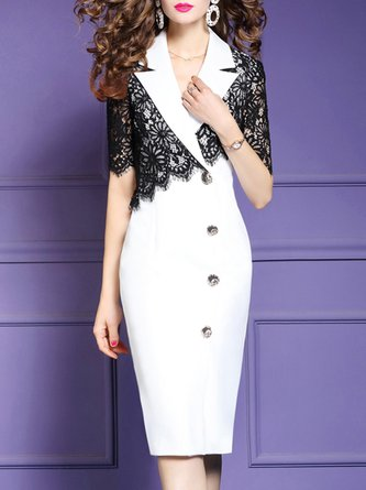 Bodycon Business Paneled Lace Midi Dress