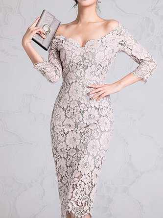 a51b71b771adc Off Shoulder Guipure Lace Bodycon Sexy Floral Midi Dress