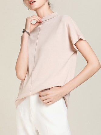 Stand Collar Casual Shift Solid Short Sleeve Cropped Top