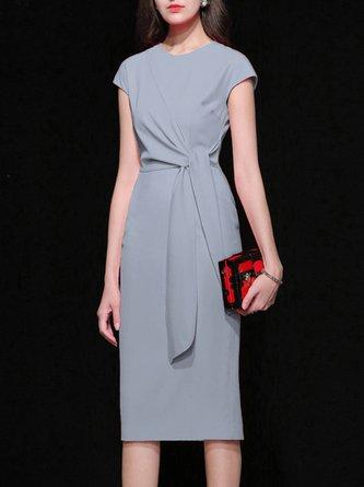 Blue Crew Neck  Sheath Date Elegant Solid Midi Dress