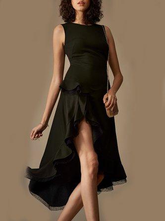 5e4f0787b502 Black Sleeveless High Low Date Elegant Asymmetric Midi Dress