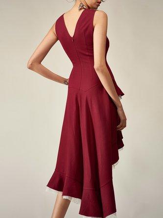 3bf126026a1b Burgundy Sleeveless Party Asymmetric Midi Dress