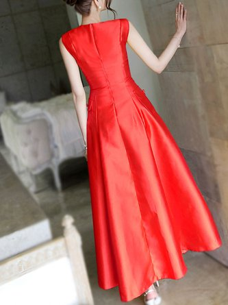 fb73a7450a12 Red Crew Neck A-Line Party Sleeveless Elegant Maxi Dress