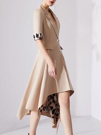 Lapel Apricot Asymmetric A-Line Date Paneled Midi Dress
