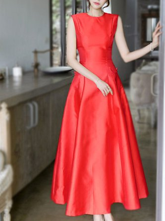 76791c5a41bc Red Crew Neck A-Line Party Sleeveless Elegant Maxi Dress