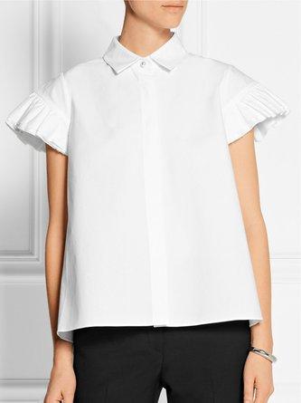 Frill Sleeve Shirt Collar Summer Cropped Top