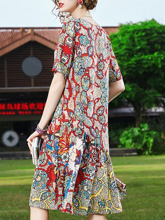 Summer V Neck Shift Daily Paneled Abstract Printed Midi Holiday Dress