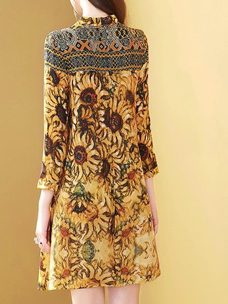 Stand Collar Yellow  3/4 Sleeve A-Line Date Boho Midi Dress
