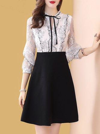 Summer Tie-Neck White Lace A-Line Elegant Midi Work Dress