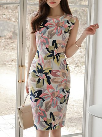 Multicolor Sleeveless Bodycon Work Floral-Print Midi Dress