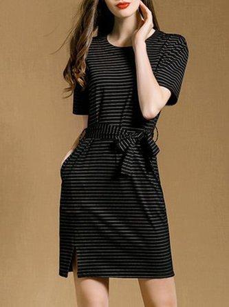 Black A-Line Daily Casual Stripes Crew Neck Midi Dress