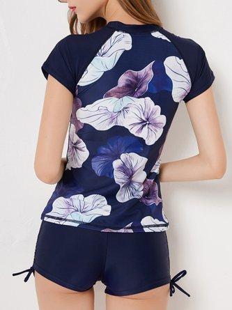 Summer Purplish Blue Crew Neck Leaf Short Sleeve Bikini Swimwear