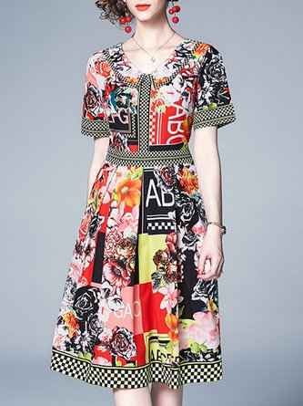 Peter Pan Collar Multicolor A-Line Holiday Floral Midi Dress