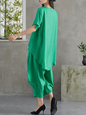 Summer Daily Casual Solid Pockets Top With Pants Linen Set