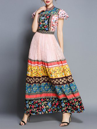 Summer Stand Collar Pink A-Line Casual Floral Maxi Holiday Dress