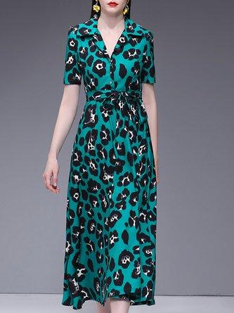 Lapel Green  A-Line Daytime Leopard Print Midi Dress