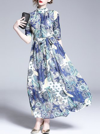 Summer Stand Collar Blue Printed A-Line Maxi Holiday Dress
